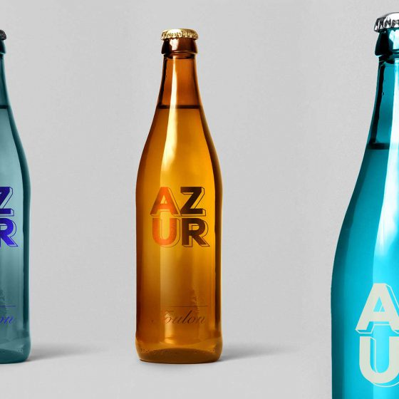 AZUR Toulon ice blue promotional sparkling water by Differ