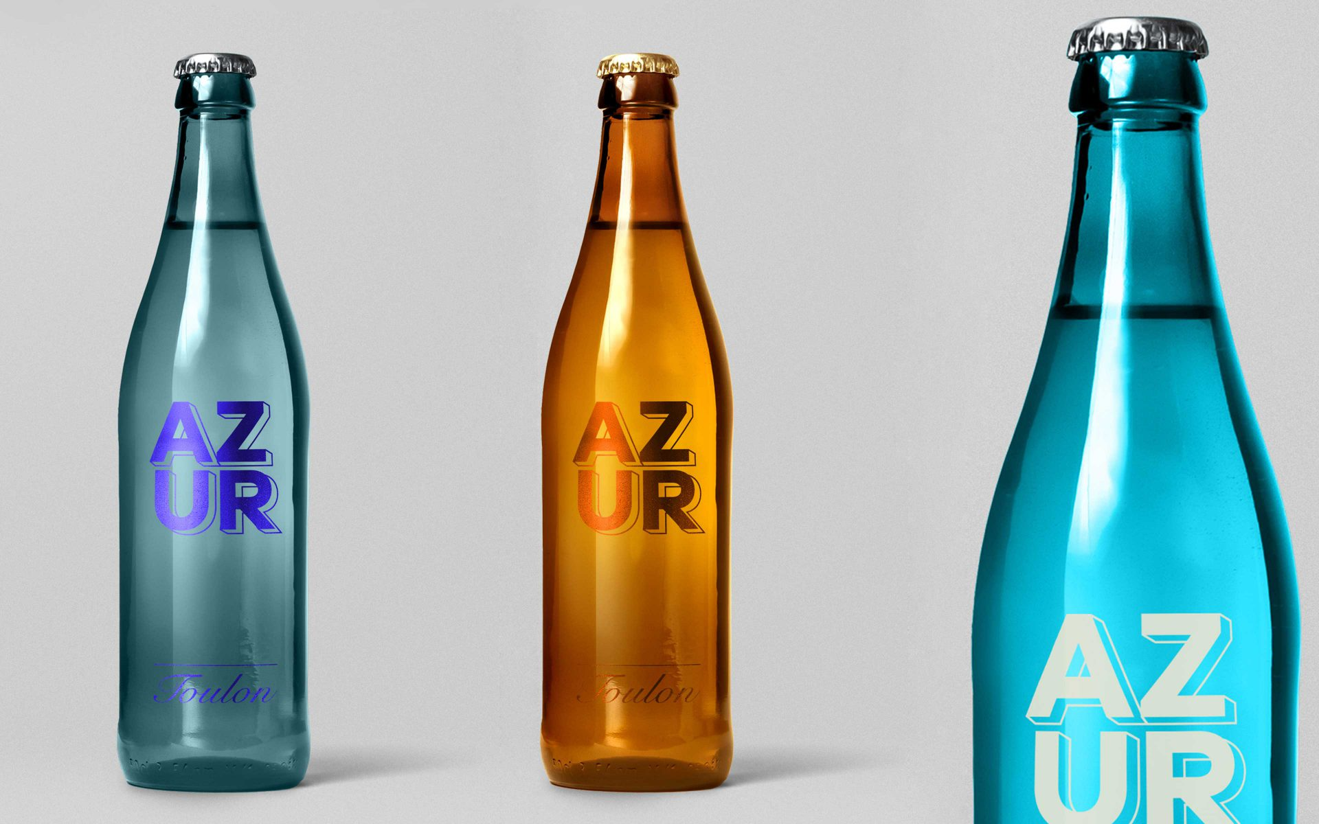 AZUR Toulon grey, gold and blue promotional sparkling water by Differ