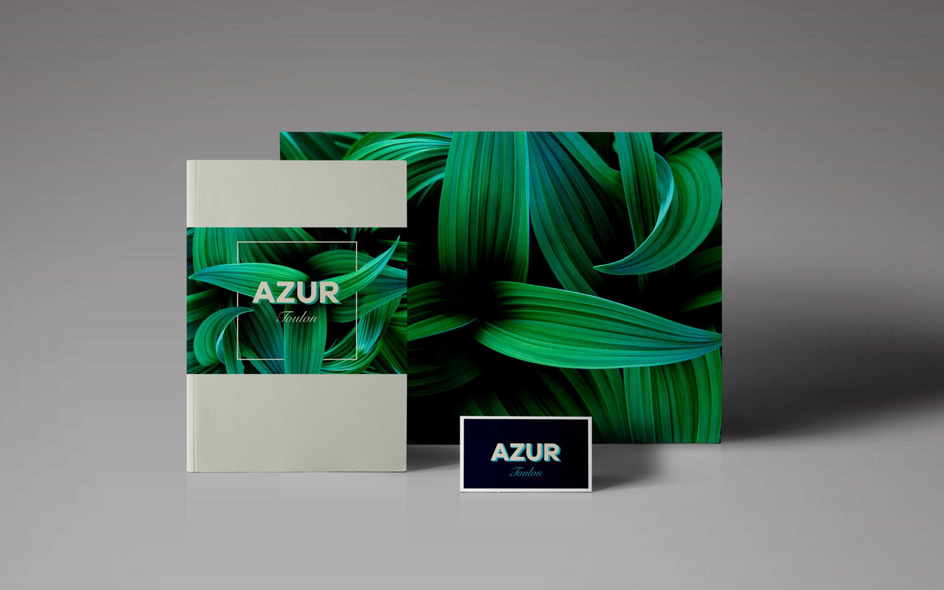 AZUR Toulon property development luxurious green and blue corporate stationery brand logo and creative by DIFFER