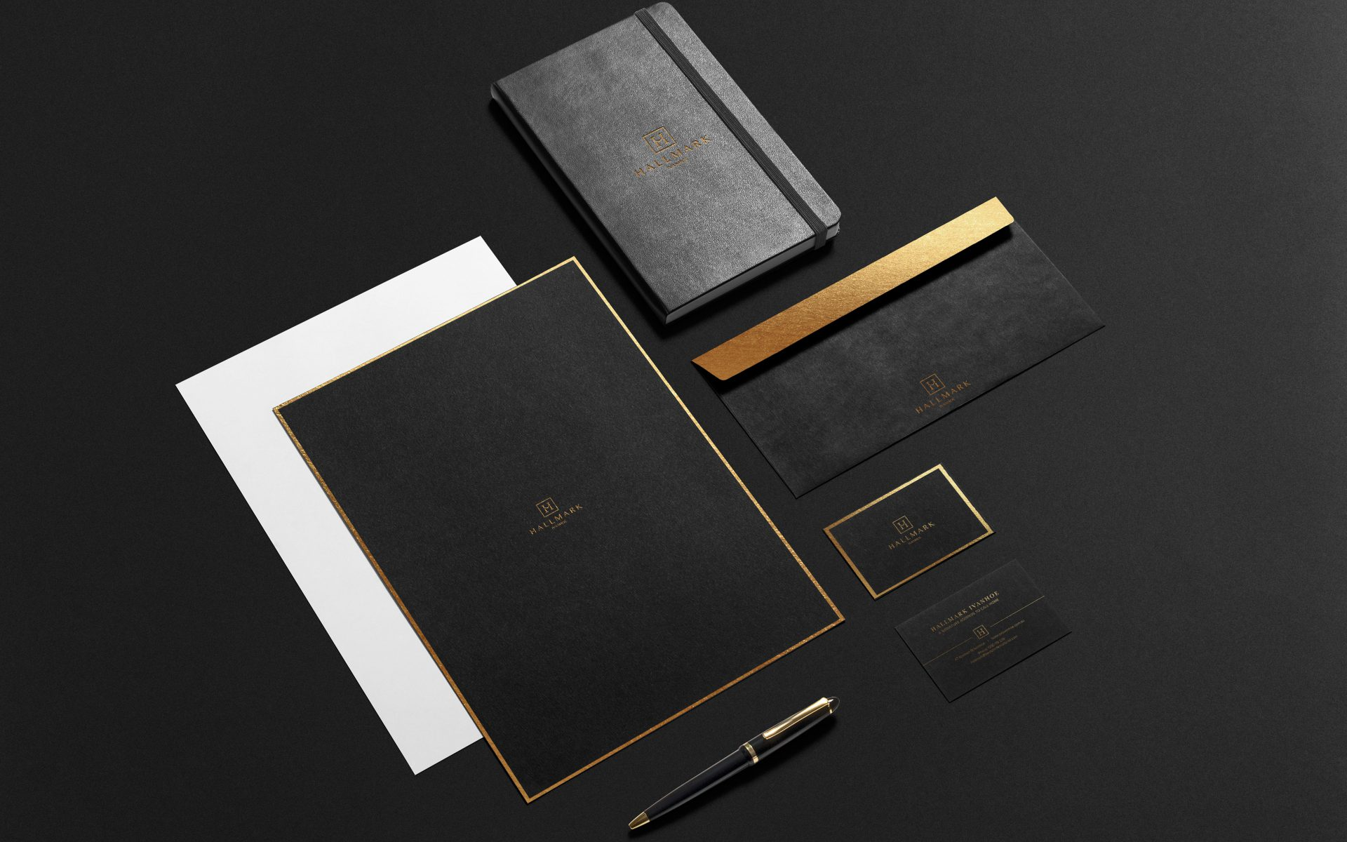 Hallmark, gold corporate stationery brand logo and creative by DIFFER for Beulah International