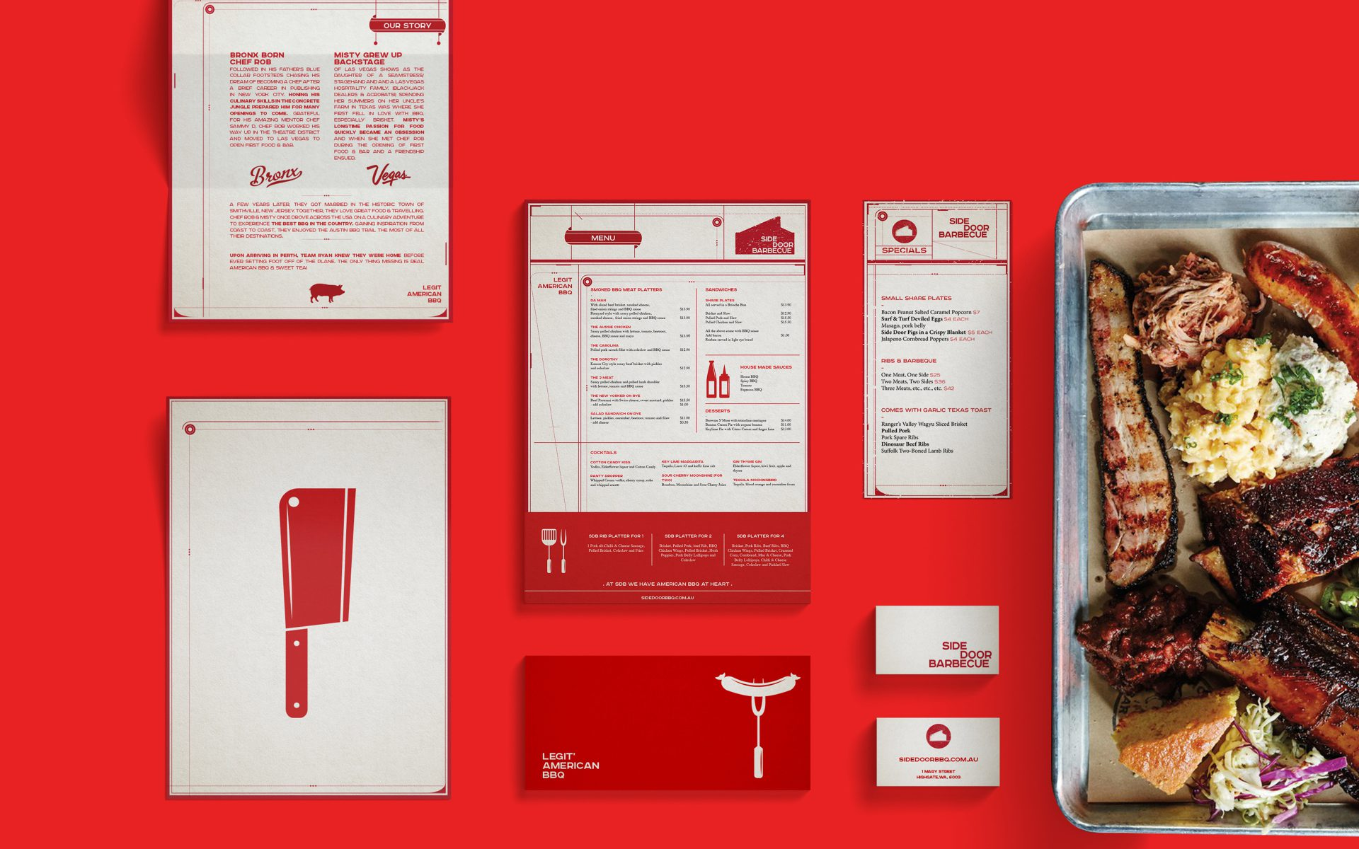 Side Door BBQ brand logo and creative on restaurant venue by Differ