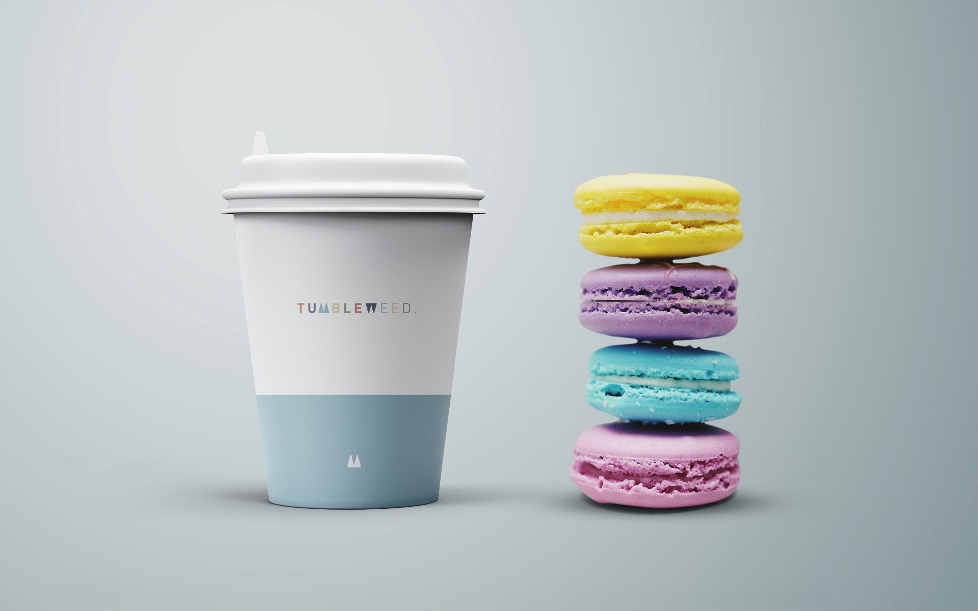 Tumbleweed NZ logo brand creative on take away coffee cup by DIFFER