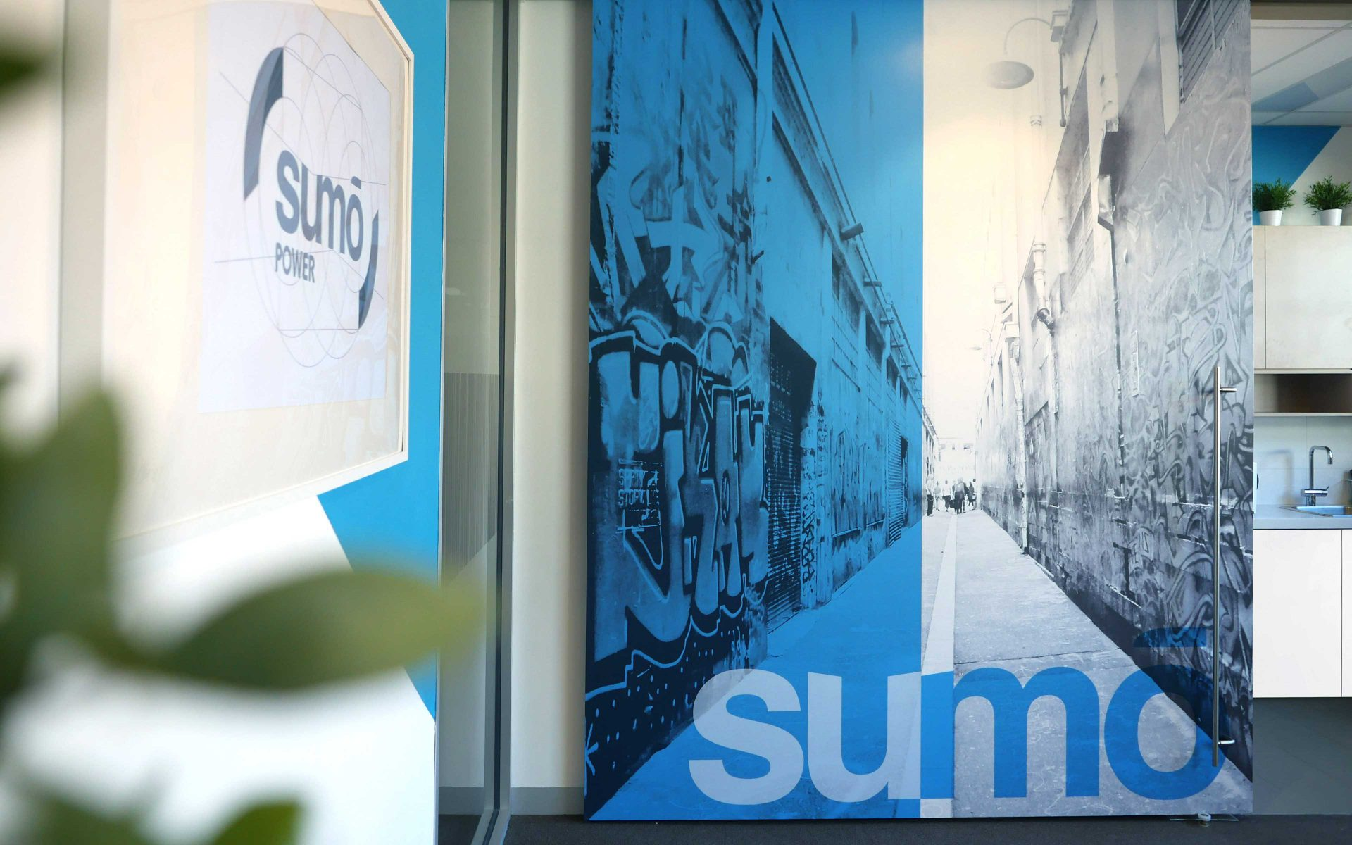 Sumo Power brand logo and interior styling in Melbourne head office