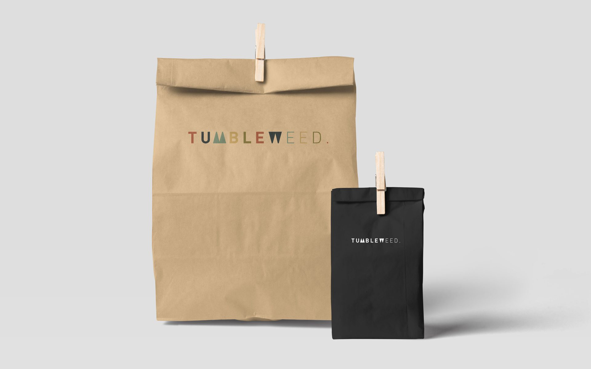 Tumbleweed NZ logo brand creative on take away recycled paper bag by DIFFER