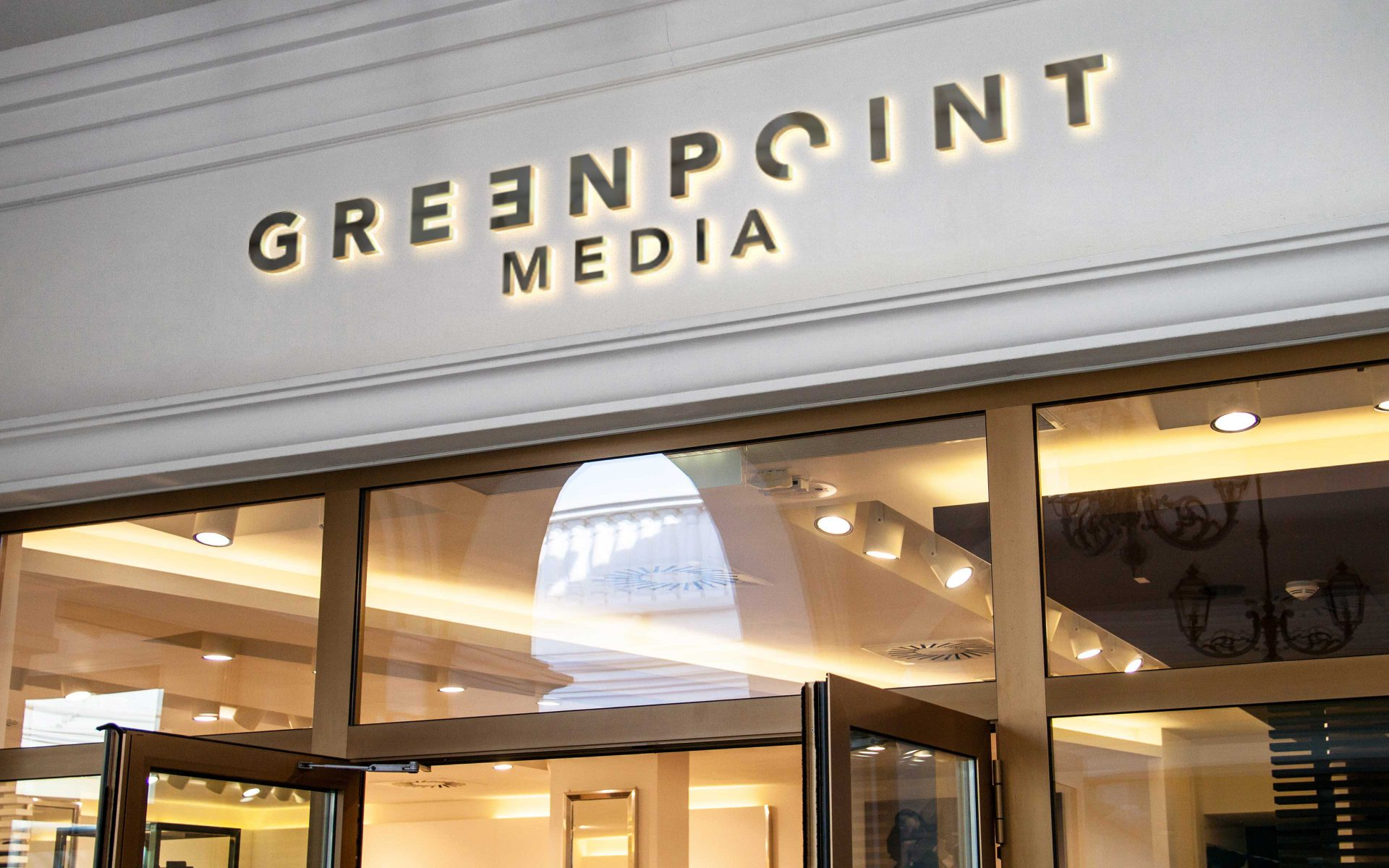 Greenpoint Media PR Head office brand logo and signage by Differ