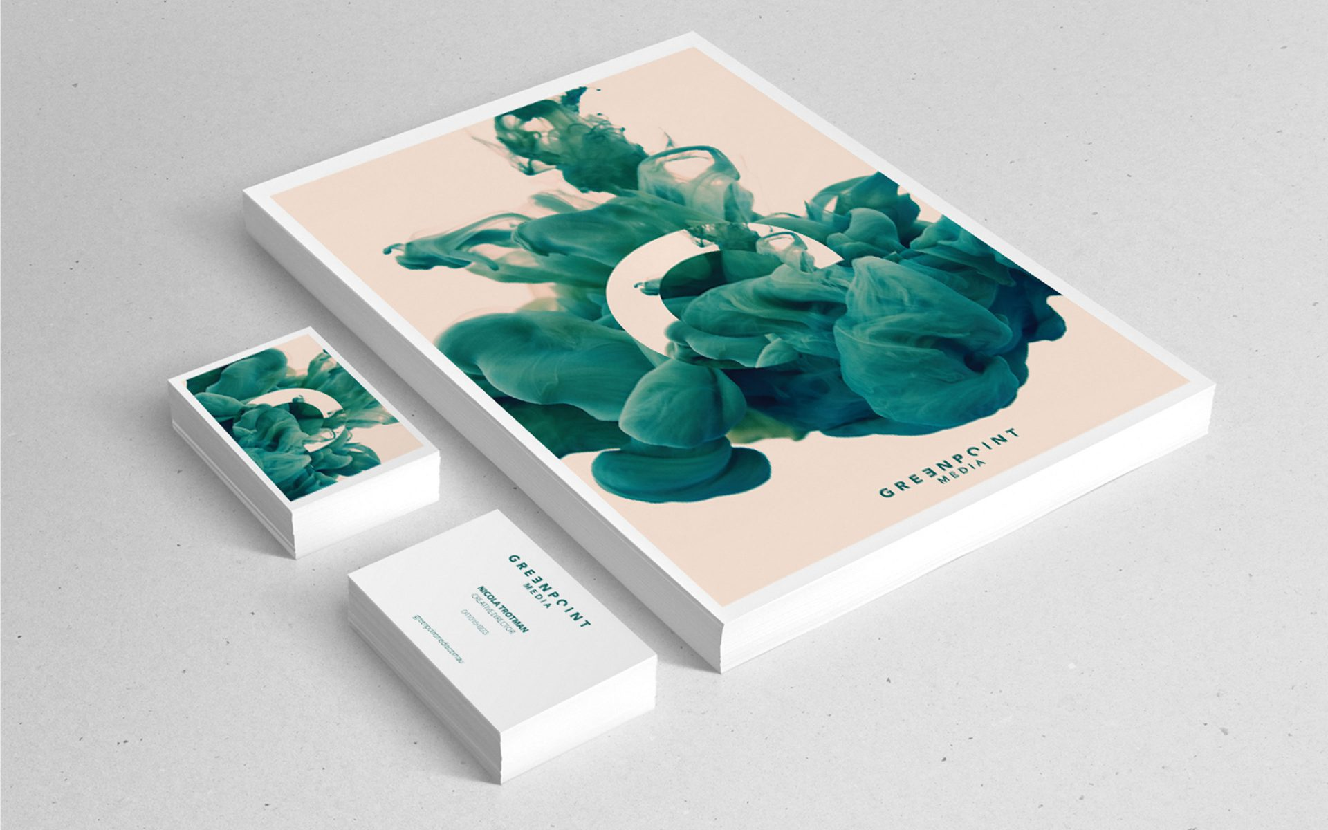Greenpoint Media PR eye catching corporate stationery logo brand and creative by Differ