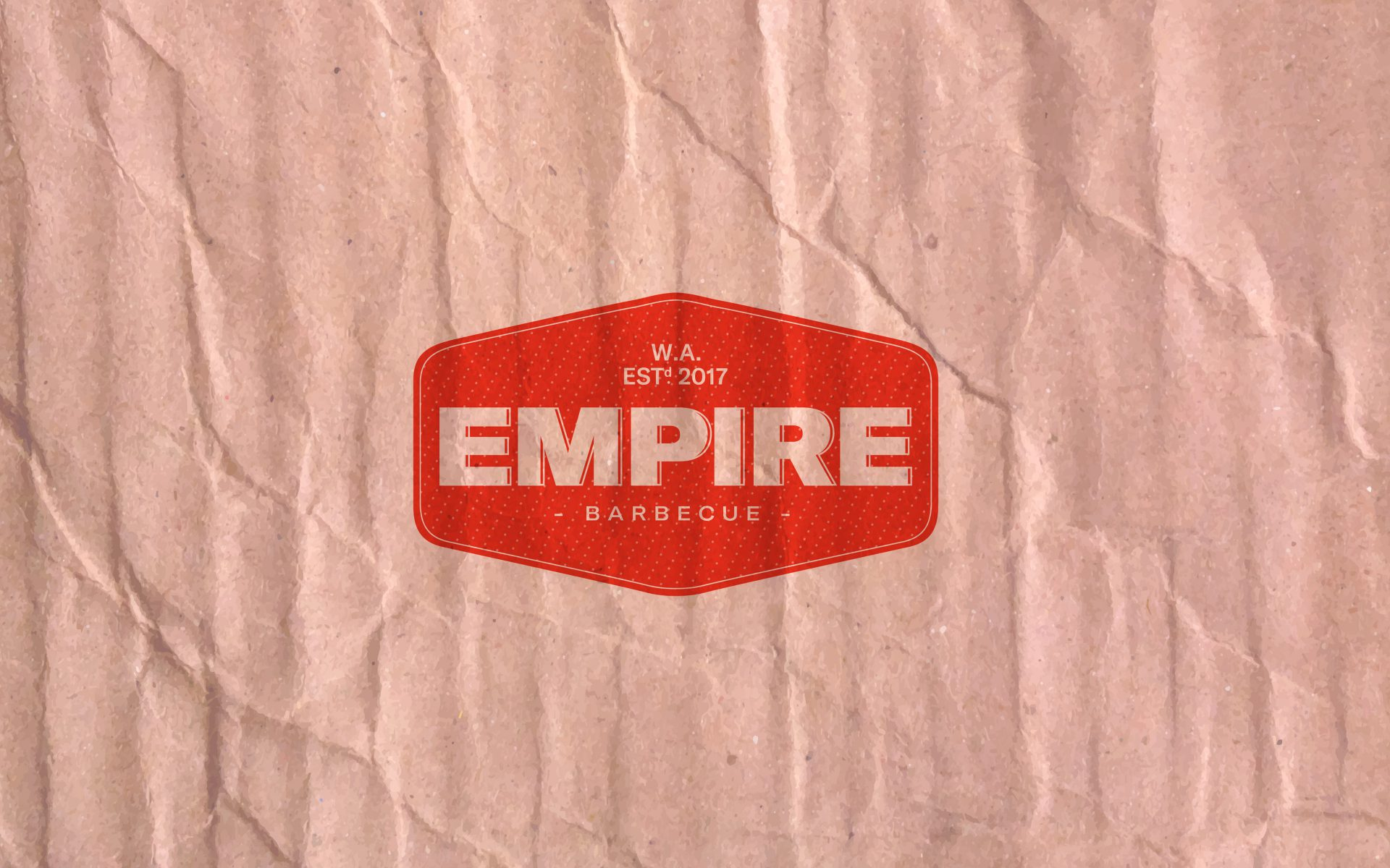 Empire BBQ brand logo red stamp on recycled brown paper