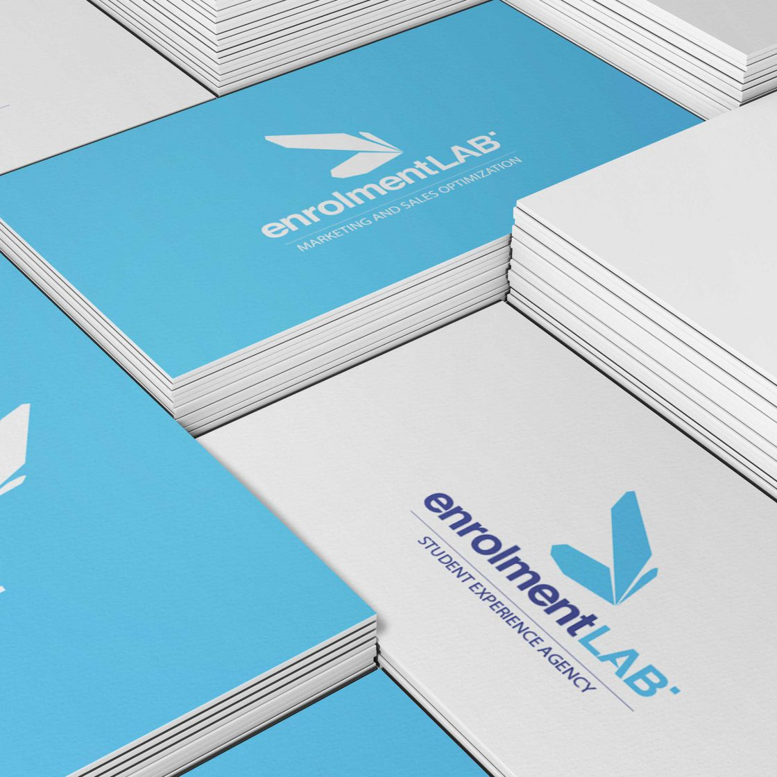 Enrolment LAB brand white and blue business cards 300 gsm