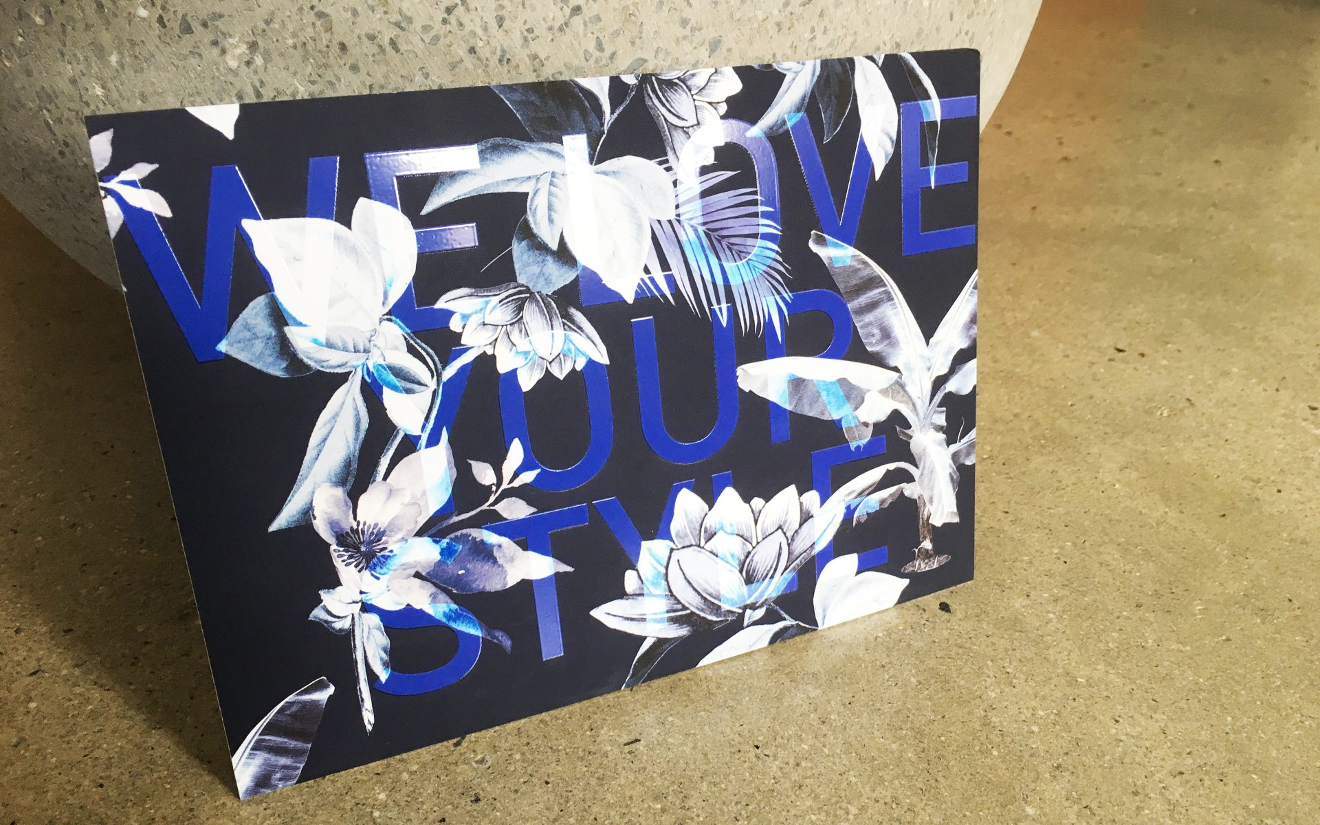 Alulu brand thank you cards floral print and blue spot UV