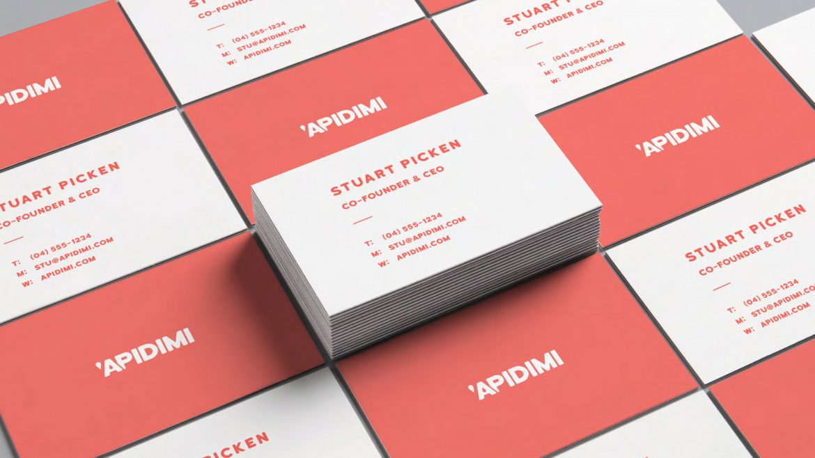 Apidimi brand, red and white business cards